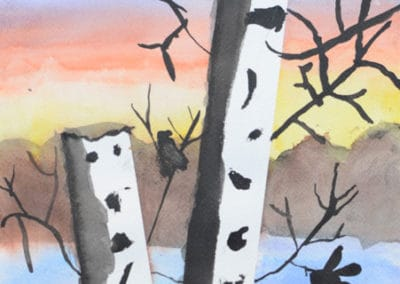 Birch Tree Watercolor, by Discovering Your Art Student, age 9