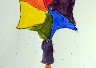 Color Wheel Painting Using the Shape of an Umbrella, by Exploring Art Student, age 5