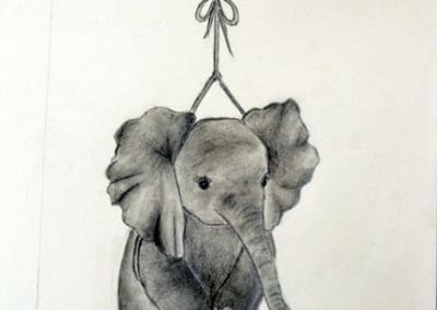 Floating Elephant Pencil Drawing, age 15