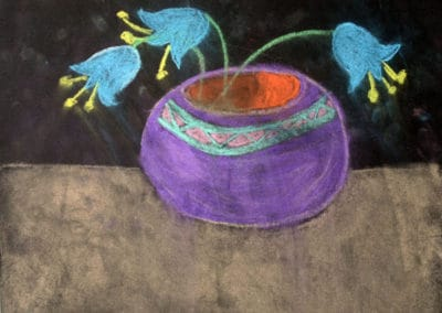 Flower Pot Chalk Pastel, by Discovering Your Art Student, age 8