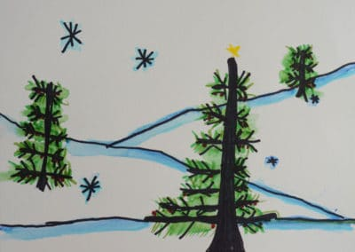 Foreground Midground and Background Painting with Markers, by Exploring Art Student, age 6