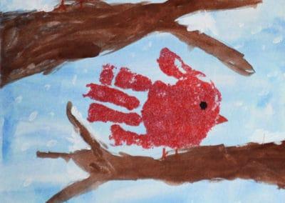 Hand Print Birds, age 5