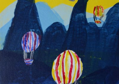 Hot Air Balloons Acrylic Painting, age 8