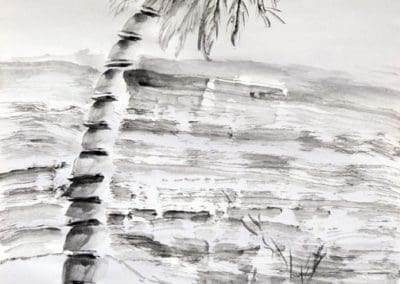 Ink Wash Palm Tree, by Discovering Your Art Student, age 9