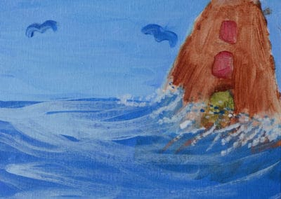 Lighthouse Acrylic Painting, age 8