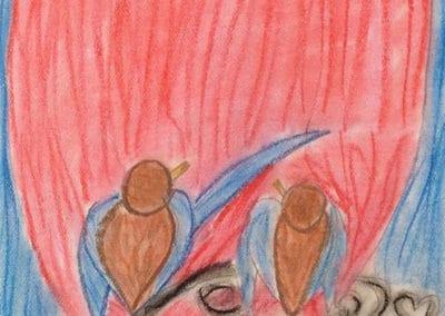 Love birds Chalk Pastels, age 9
