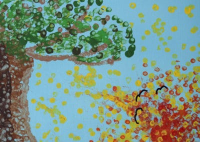 Pointillism Tree With Setting Sun, age 5