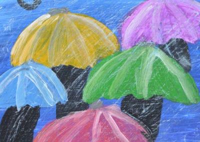 Rainy Day Umbrella Painting, age 9