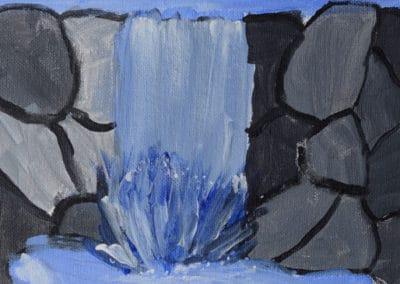 Rock Waterfall Acrylic Painting, age 9