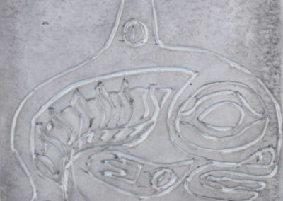 Rubber Stamp Fish Carving, age 11