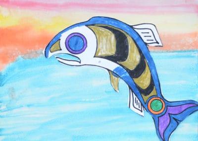 Salmon Homecoming Watercolor, age 8