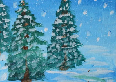Snowy Trees Acrylic Painting, by Discovering Your Art Student, age 8