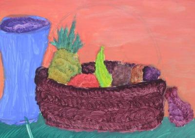 Still Life Fruit Basket Painting, age 13