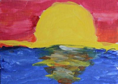 Sunrise Reflection Painting, age 7