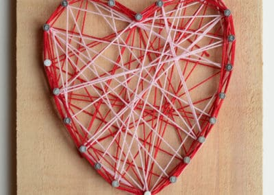 Valentine's Day String Art Project, age 6