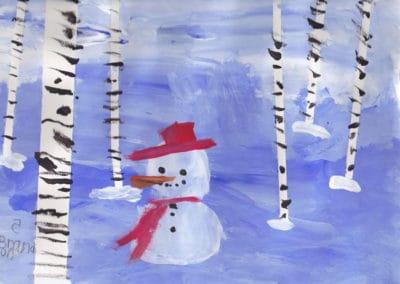 Winter Snowman Scene, age 5